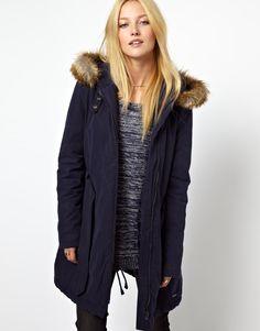 Wrangler Belted Parka With Faux Fur Trimmed Hood