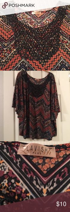 Batwing Blouse in fall colors. Stunning, dress it up or down, regardless it will look great! Offers welcomed. Lavish Tops