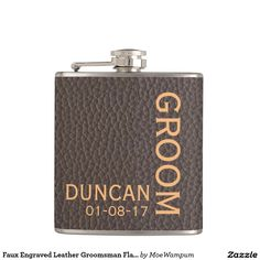 I cant say i do without you best man wedding invitation groomsman faux engraved leather groomsman flask personalized stopboris Images