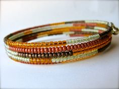 Beaded Memory Wire Bracelet - Autumn Leaves