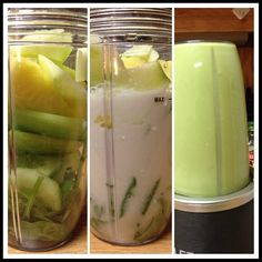 Lunchtime detox... Spinach, cucumber, apple, pineapple, Kale , almond milk... replace celery with Kale.