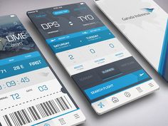 Book Flight and Boarding Pass - by Azis Pradana | #ui
