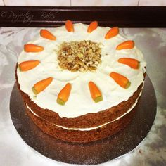 Homemade Carrot and Walnut Cake ready to take round my friends to enjoy.