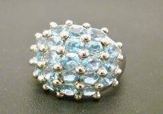 925 STERLING SILVER RING 6.2g GENUINE BLUE TOPAZ DOME CLUSTER SIZE 6.25 #Cluster