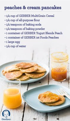 This toddler-friendly breakfast idea is perfect for a growing toddler. The nutritional secret to these Peaches and Cream Pancakes is to use iron-rich GERBER Multigrain Cereal in the batter. Filled with essential vitamins and minerals to help your little one develop, this tasty breakfast recipe is a win-win for both you and your child.