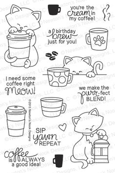Newton Loves Coffee - 4x6 Photopolymer stamp set by Newton's Nook Designs featuring cat and coffee stamps