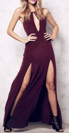 Wine Sleeveless Cutout High Slit Maxi Dress Fashion #Sexy #Wine #Maxi #Dress #BodyCon #Fashion
