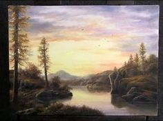 Paint with Kevin Hill - Sunset Lake Oil Painting App, Oil Painting Lessons, Autumn Painting, Painting Videos, Painting Techniques, Painting Tutorials, Painting Art, Sunset Landscape, Mountain Landscape