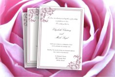 Printable Wedding invitation template dusty pink grape floral motif by Oxee , DIY editable in Word, $8.00