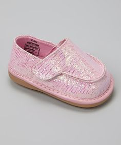 Look what I found on #zulily! Light Pink Sparkle Canvas Squeaker Shoe by Mooshu Trainers #zulilyfinds