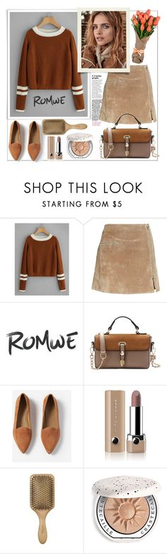 """""""Romwe.Striped Contrast Trim Cable Sweater"""" by natalyapril1976 ❤ liked on Polyvore featuring BLANKNYC, Everlane, Marc Jacobs and Chantecaille"""