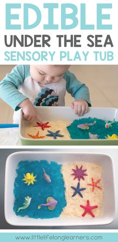 Under the Sea Sensory Play Tub – Little Lifelong Learners – Toddler Play Ideas – playhome Childcare Activities, Sea Activities, Nursery Activities, Sensory Activities Toddlers, Infant Activities, Playgroup Activities, Edible Sensory Play, Baby Sensory Play, Baby Play