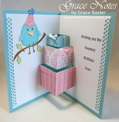 Happy Birdie Day card with pop-up gifts inside. Visit the blog to learn about all the details.