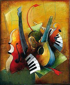 askART Emanuel Mattini - Pricing Art - What's my art worth? Music Painting, Music Artwork, Musik Illustration, African Art Paintings, Cubism Art, Jazz Art, Art Africain, Guitar Art, Pop Art