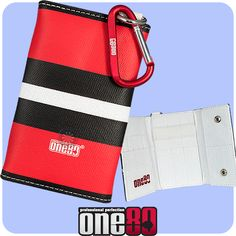 Dart Case - One80 - Dragon Wallet - Canvas Dart Wrap Wallet - with Clip - Red with Black-White Stripe  - http://www.dartscorner.co.uk/product_info.php?products_id=18974
