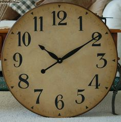 24 inch Large Wall Clock Antique Rustic Tuscan by BigClockShop, $72.00