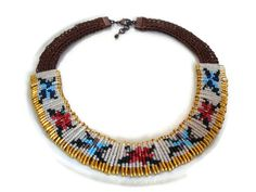 Colorful Beadwork Safety Pin Necklace by FIGENTAKI