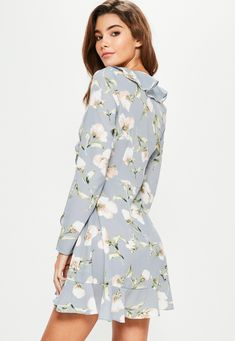 c54ede18af Blue Floral Ruffle Tea Dress | Missguided Dress Cuts, Missguided, Flower  Prints, Baby
