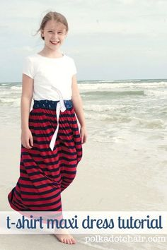 T-Shirt Maxi Dress Tutorial - easy peasy, just sew some fabric onto the bottom of a t-shirt!