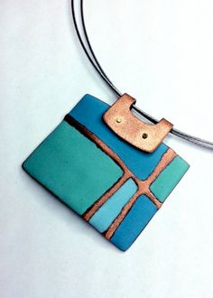 Patchwork Series Pendant in Sapphire Blue and Mint Green by Angela Gerhard