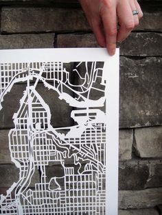 what patience! beautiful hand-cut map of seattle