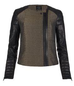 Abel Leather and Metallic Wovem Jacquard  Jacket by AllSaints Spitalfields