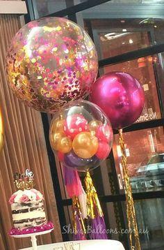 Confetti balloons, bubble balloons and orbs! Unicorn Party, Unicorn Birthday, Birthday Bash, Birthday Parties, Birthday Ideas, Bubble Balloons, Big Balloons, Confetti Balloons, Metallic Balloons