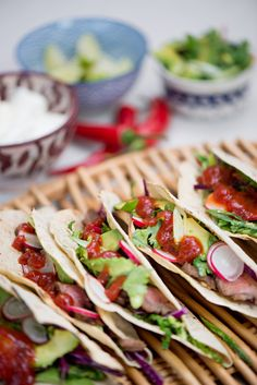 Steak Tacos with Crunchy Coriander Salad and Ballymaloe Pepper Relish - Ballymaloe Foods Pepper Relish, Steak Tacos, Red Peppers, Coriander, Street Food, Tomatoes, Mexico, Tasty, Salad