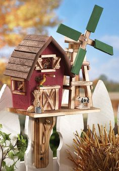 Country Bird Houses | Country Barn With Windmill Birdhouse - Birdhouses