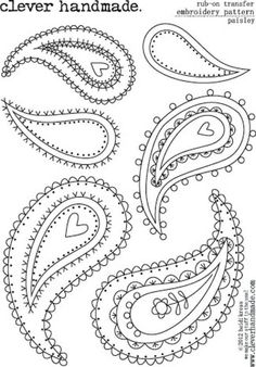 Clever Handmade - Embroidery Patterns - Rub Ons - Paisley - DIY Home Project Embroidery Applique, Beaded Embroidery, Cross Stitch Embroidery, Embroidery Patterns, Machine Embroidery, Paisley Embroidery, Embroidery Thread, Simple Embroidery, Paisley Doodle