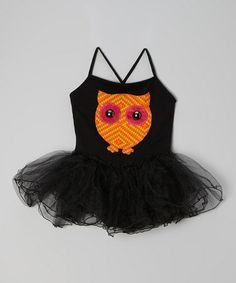 Take a look at this Black & Tangerine Owl Skirted Leotard - Toddler & Girls by little bits on #zulily today!