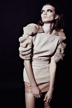 Fashion as Art - structured top with textured sleeve & shoulder detail; experimental fashion design // David Koma