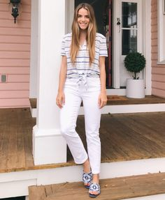 4.17 daily look (Equipment 'keira' tie-front cotton stripe shirt + Madewell high-rise skinny jeans in pure white + Isa Tapia 'nerine' slides in denim blue/white)
