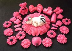 Check out this item in my Etsy shop https://www.etsy.com/listing/176098008/fondant-baby-zebra-hot-pink-daisy-flower
