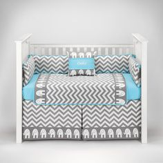 Awesome Blue Chevron Baby Bedding