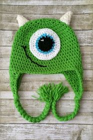 Crochet Baby Hats Monster Crochet Hat-Monsters Inc Inspired Crochet Hat-Monster Hat-Baby Monster Hat-Crochet Monster Costume-Toddler Monster Hat-Photo Prop by ALittleLadyandMe on Etsy - Monsters Inc Crochet, Crochet Monster Hat, Crochet Baby Boy Hat, Bonnet Crochet, Crochet Kids Hats, Crochet Beanie, Crochet Crafts, Crochet Projects, Knitted Hats