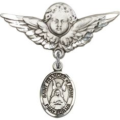 Sterling Silver Baby Badge with St. Frances of Rome Charm and Angel w/Wings Badge Pin 1 1/8 X 1 1/8 inches ** You can find more details by visiting the image link. (This is an Amazon Affiliate link and I receive a commission for the sales)