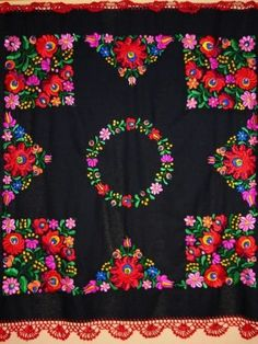 Handmade embroidered Matyó table cover with rich, colorful embroidery patterns on black background.  Size: 31,5 in X 31,5 in (80 cm X 80 cm) - See more at: http://www.itshungarian.com/hungarian-gifts-products-store/tablecloths/matyo-table-cover-with-rich-hand-embroidery/#sthash.zjTgqmTS.dpuf