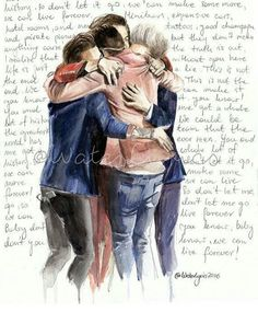 Watercolor Portrait of One Direction with the History lyrics by WaterLyrics- It's absolutely amazing! Niall Horan, Zayn Malik, Liam Payne, One Direction Art, One Direction Pictures, Direction Quotes, One Direction Drawings, History One Direction Lyrics, Louis Tomlinson