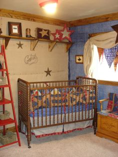 paint black star brown and hang betweem windows or above extra stars from vinal packet around. cowboy pic copied and painted. names above beds and rope with hats on opposite wall