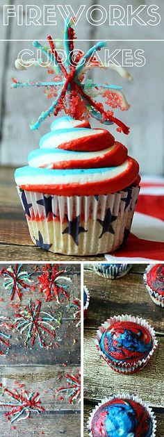 Get the Recipe ♥ Fireworks Cupcakes #recipes @recipes_to_go