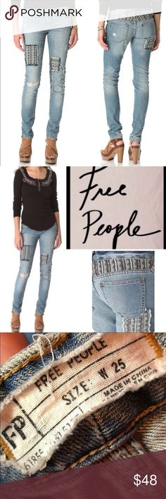 """Free People Baja Distressed Patch Skinny Jeans Free People Baja Distressed Patch Skinny Jeans  Size 25   99% cotton 1% spandex   Measurements are approximate:  Waist is 15"""" across Rise is 7.5"""" Inseam is 31"""" Free People Jeans Skinny"""
