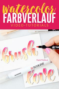 Create color gradient with brush pens, liquid watercolor and water tank brush or blender Watercolor Hand Lettering, Brush Pen Calligraphy, Calligraphy Tutorial, Hand Lettering Tutorial, How To Write Calligraphy, Doodle Lettering, Tombow Brush Pen, Brush Pen Art, Watercolor Brush Pen