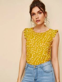 To find out about the Frill Trim Polka Dot Top at SHEIN, part of our latest Blouses ready to shop online today! Summer Blouses, Summer Shirts, Polka Dot Fabric, Polka Dot Top, Cap Sleeve Top, Cap Sleeves, Fashion News, Fashion Outfits, Style Fashion