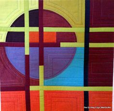 """Shot cottons - this could be interesting as a block - could vary the placement of the thin strips and the """"blocking"""" making up the circle"""