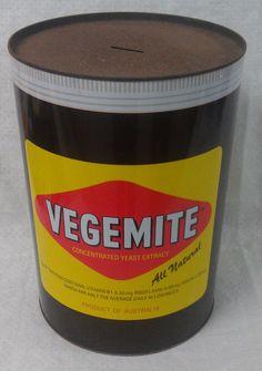LARGE Retro Vegemite tin money box piggy bank 29 cm high & 20.5 cm diameter
