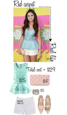 """Selena Gomez Kid's Choice Award Look for Less"" by intheclotheset on Polyvore"