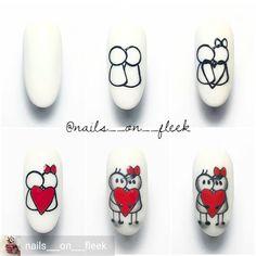 Get inspired 😍🔥 Reposted from ( - True love 💅🏼 Heart Nail Art, Heart Nails, Love Nails, Pretty Nails, Gel Nail Art, Nail Polish, Acrylic Nails, Nail Drawing, Nail Art Techniques