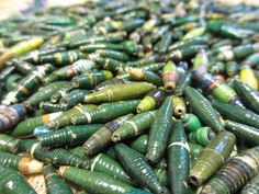 750 Green Hand Rolled Paper Beads Green by NyakaGrandmotherShop