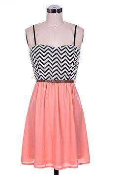 chevron coral dress